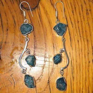 Natural aquamarine sterling silver dangle earrings